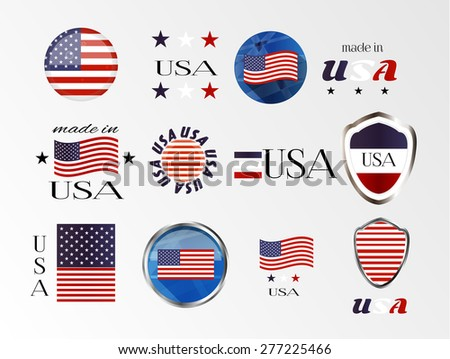 Set, collection, group of isolated, modern, simple, blue, red, white, icons, labels, stickers - made in the USA, american flag - stars and stripes, white background - stock vector