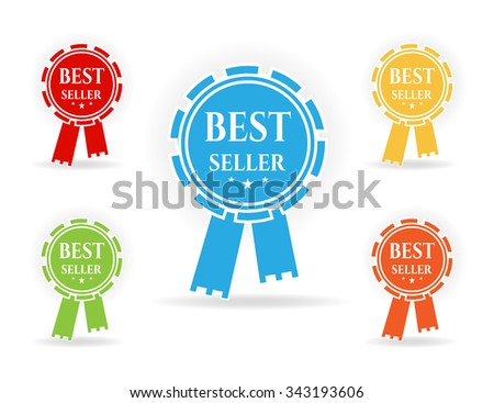 Set, collection, group of simple, isolated, colorful rosettes, badges, awards, medals, labels, stickers with stars and text Best Seller, white background - stock vector