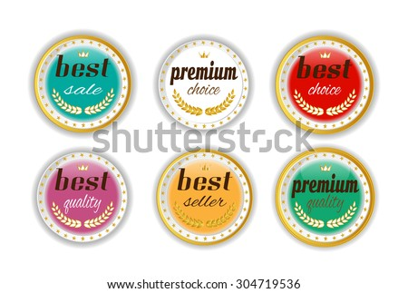 Set, collection, group of six, round, isolated  buttons, icons, signs, labels, badges, stickers with text Best Seller, Premium Quality, Best Sale, white background - stock vector