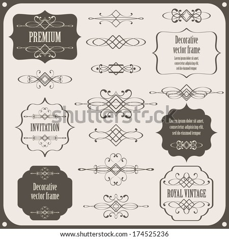 set collection of calligraphic design elements, vintage borders and frames. page decorations isolated on light gray background. vector illustration  - stock vector