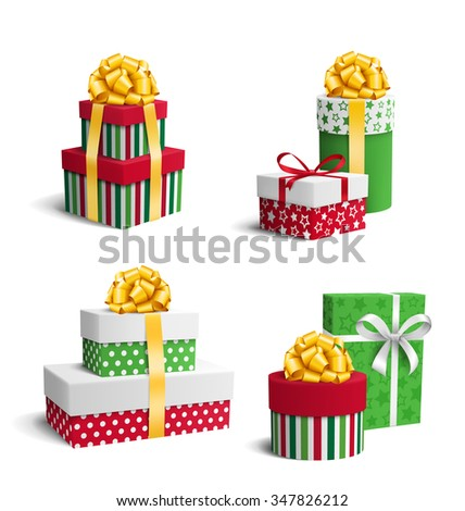Set Collection of Colorful Celebration Christmas Gift Boxes with Bows Isolated on White Background - stock vector