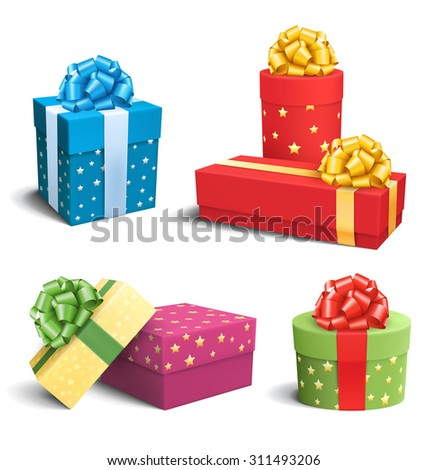 Set Collection of Colorful Celebration Gift Boxes with Bows Isolated on White Background - stock vector