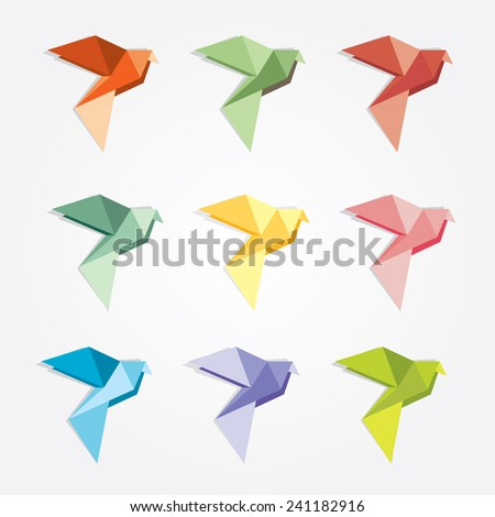set collection of colorful geometric style origami birds logo icons- business company design elements - stock vector
