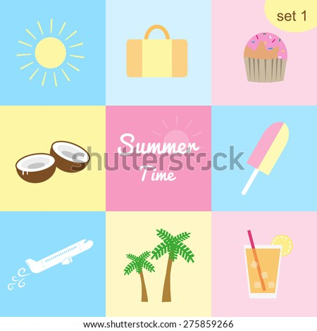 Set #1. Collection of colorful icons for summer, traveling and vacation. Sun, travel bag, cupcake, coconuts, ice cream, plane, palms, iced juice. - stock vector