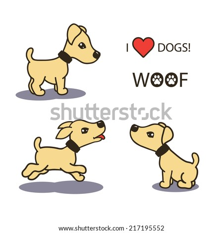 set collection of cute cartoon illustrations of a happy playful puppy baby dogs. isolated with shadows and text on white background. vector illustrations. - stock vector