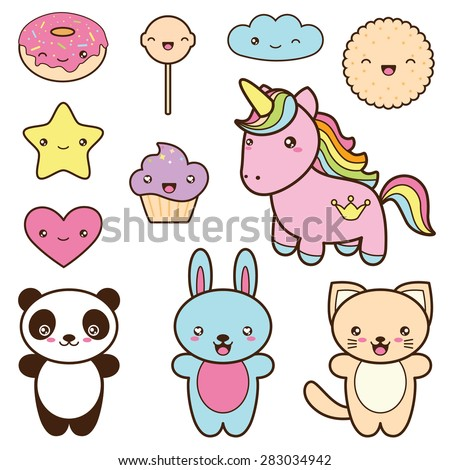 Set collection of cute kawaii style labels. Decorative bright colorful  design elements in doodle Japanese style isolated on white background. Vector illustration.  - stock vector