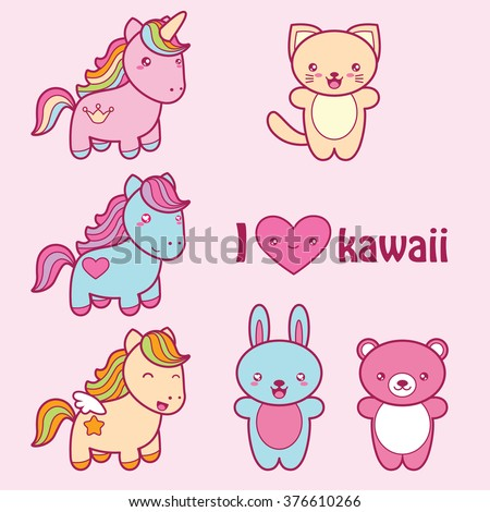 Set collection of cute kawaii style labels. Decorative bright colorful design elements in doodle Japanese style isolated on pink background. Vector illustration.