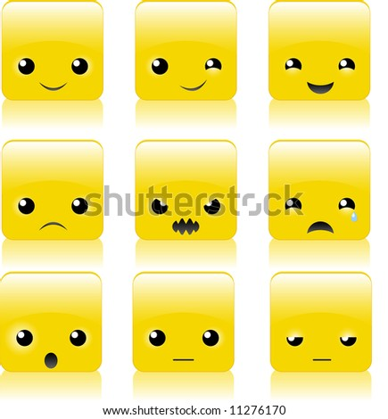 Set (collection) of funny glossy square smile images - stock vector