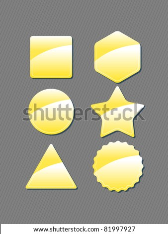 Set collection of glossy icons/ labels- gold