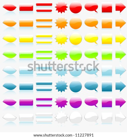 Set (collection) of glossy web navigarion buttons and elements on white background - stock vector