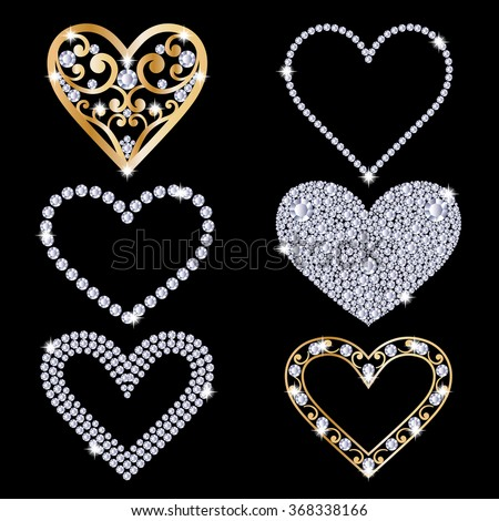Set collection of shiny hearts. Made with diamonds and gold. Isolated on the black background. Valentines day love symbols. Vector illustration. - stock vector