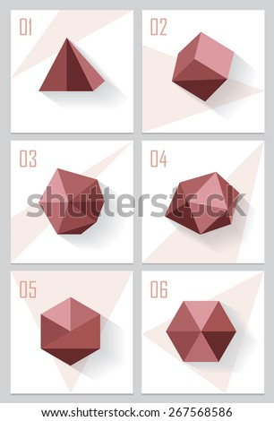 set collection of triangle, cube, polygons, hexagons, platonic solids icons and website design elements or print decorations for product advertisement in trendy marsala color. Low polygon style facets - stock vector