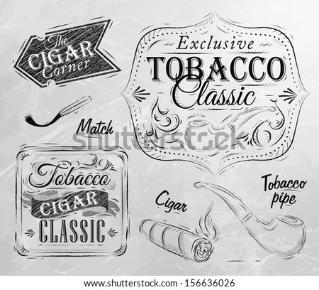 Set collection on tobacco and smoking a pack of cigarettes vintage tobacco cigar, pipe, all smoking stylized for the drawing in charcoal on board  - stock vector