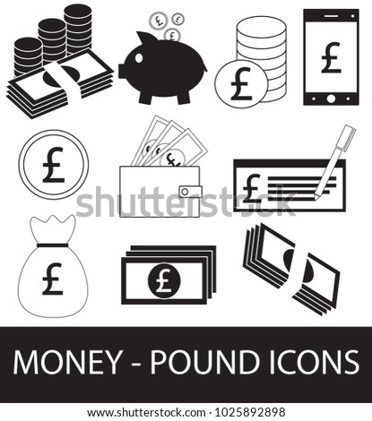 Set Collection Pack Pound Currency Icon Stock Vector 1025892898