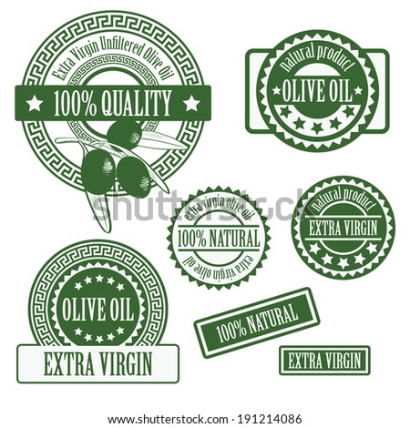 set collections of labels for olive oil, olive branch products isolated on white background. vector illustration  - stock vector