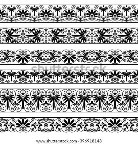 Set Collections Old Greek Ornaments Antique Stock Vector 396918148 Antique Greece To Color