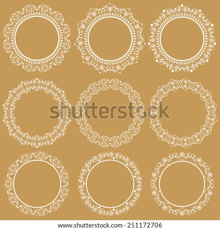 Set collections of round vintage lacy frames for your text or photo. White cute elegant elements isolated on retro beige background. Vector illustration. Can use for birthday card, wedding invitations - stock vector