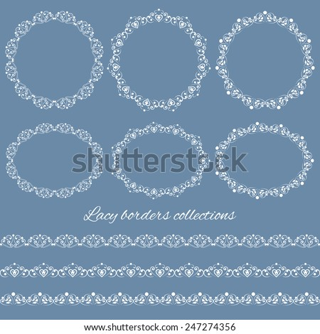Set collections of vintage lacy borders and frames. White cute elegant elements isolated on blue background. Vector illustration - stock vector
