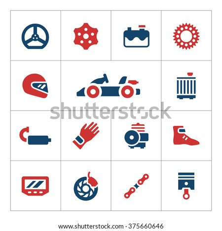 Set color icons of karting - stock vector