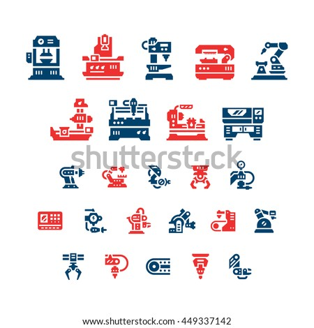 Set color icons of machine tool, robotic industry - stock vector