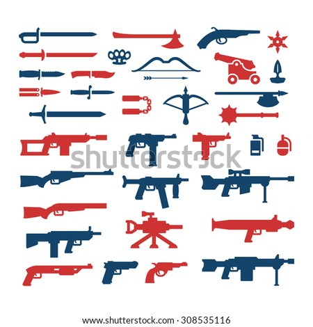 Set color icons of weapons isolated on white. Vector illustration - stock vector