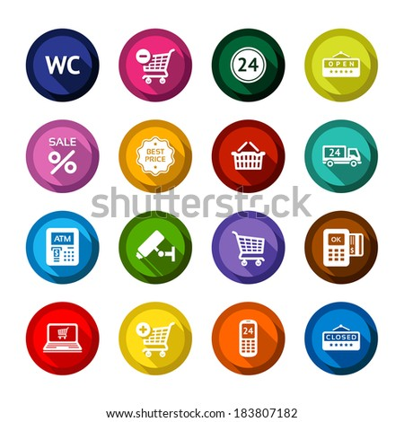 Set colored flat buttons, white symbols with shadow. Vector illustration 10eps