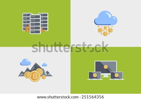 Set colored flat illustration for infographics, reports, presentations. Icons Cloud technologies, Bitcoin, money, production, server, cloud, laptop, pick, coin, rain, ore, mountain, sky, landscape - stock vector
