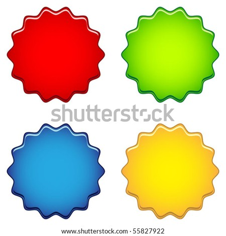 Set colored labels - stock vector