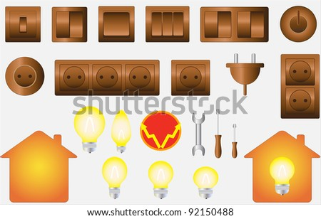 set colorful isolated objects of electrical equipment - stock vector
