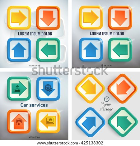 Set Colors abstract arrows background corporate concepts with triangle. Vector illustration EPS 10 for business workflow layout, web banner template, page magazine, brochure design elements - stock vector