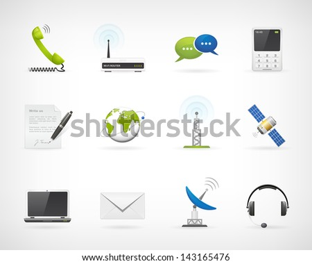 Set communication vector icons. Isolated from background. Each icon in separately folder. - stock vector