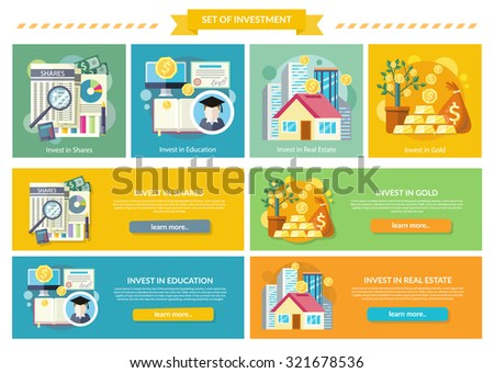 Set concept investment flat style. Gold and education, real estate and property, shares investing, business and wealth, invest potential offer, studies and growth, fund and profit, money illustration - stock vector