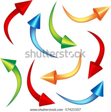 set cone arrows vector illustration - stock vector
