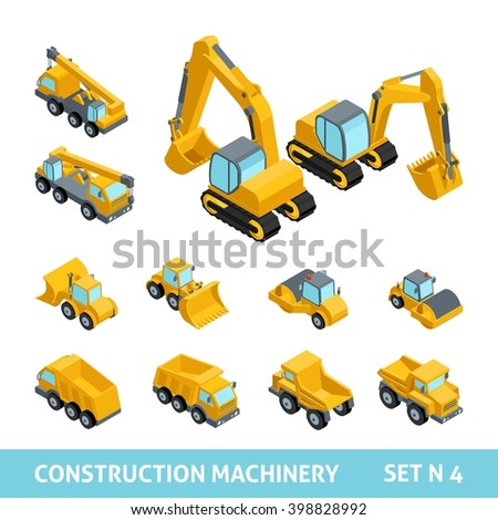 Set ?4 construction equipment, isometric style. Dump trucks, paver, tractor, harvester, machine, flat style, 3D. Vector illustration - stock vector