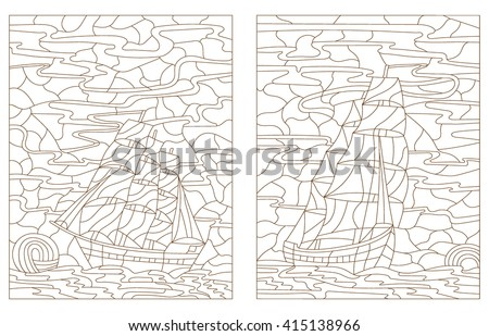 Set contour illustration in stained glass style painting, sailboats on a background of sky and water, dark outline on a white background - stock vector