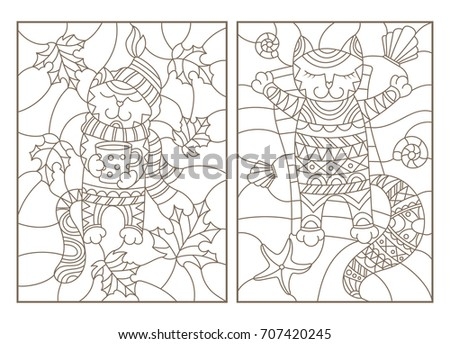 Set Contour Illustrations Of Stained Glass With Funny Cats Cat Cup And Scarf On