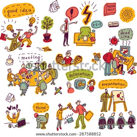 Set creative people in office business color icons isolated Doodles set with creative people, symbols and icons. Every object is separated. Color vector illustration.
