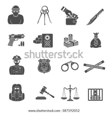 Set Crime and Punishment Icons for Flyer, Poster, Web Site like Thief, Money, Gun, Policeman, judge, handcuffs and prison.