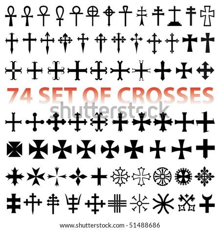 Set Crosses vector. various religious symbols - stock vector