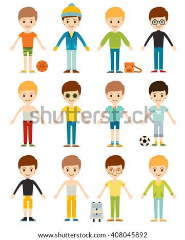 Set cute happy cartoon boys characters childhood young active lifestyle vector illustration. Cartoon boys character and set cartoon boys active lifestyle. Cartoon boys smiling, childhood friendship. - stock vector