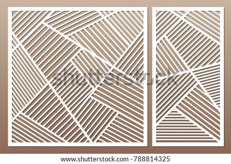 Set Decorative Card For Cutting Geometric Line Pattern Laser Cut Ratio 1