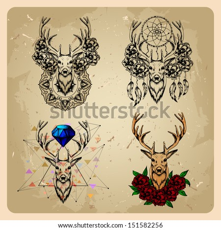 set Deer with flowers and dream catcher and flowers - stock vector