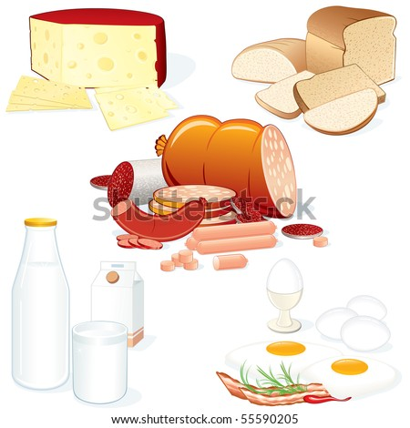 Set #2- Detailed vector food collages (Meat, Cheese, Milk, Bread etc) all objects separated and grouped - stock vector