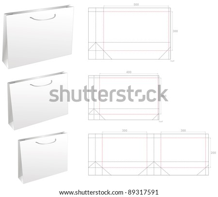 set die stamp document and gift bag - stock vector