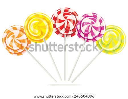Set different bright colorful lollipops isolated on white background, vector illustration - stock vector