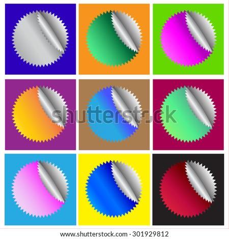 set. 9 different  color star burst shape sticker badges  - stock vector