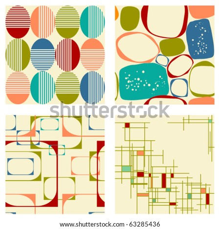 Set different retro seamless pattern - stock vector