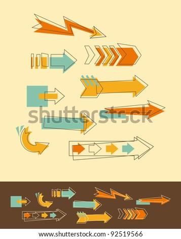Set Doodle Arrows - stock vector