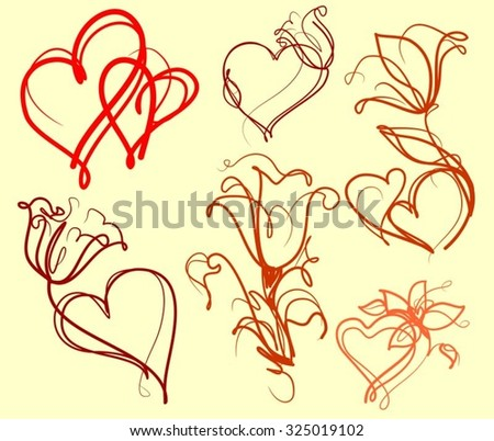 Set drawing vector graphics with floral patterns for design. Floral flower natural design. Graphic, sketch drawing. Rose, tulip, bouquet, wedding, leaves, composition, florist. - stock vector