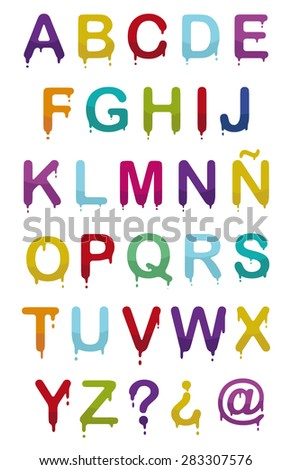 set drop of paint droping letters in colors - stock vector